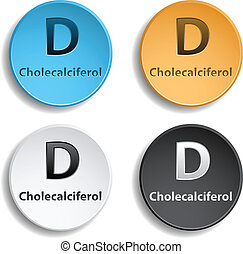 Vitamin D - Different colors vitamin d. eps10