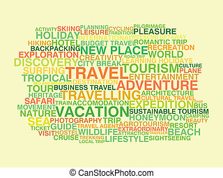 Travelling Word cloud concept