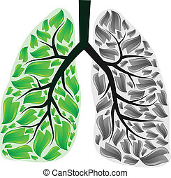 Lungs in danger - Green and gray human lungs. eps10