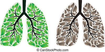 Two lungs - Human lungs with green and brown leaves eps10