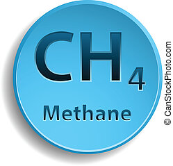 Methane - Blue button with methane element eps10