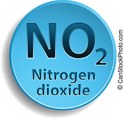 Nitrogen dioxide - Blue button with nitrogen dioxide. eps10
