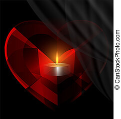 heart-crystal and candle - dark background and red...