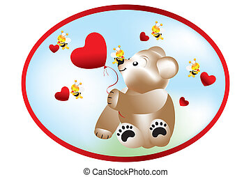 Bear with bees - Stock Illustration - Bear holding heart...