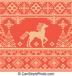 Seamless pattern with horse - Seamless traditional...