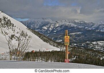 Warning Sign at the Ski Slopes