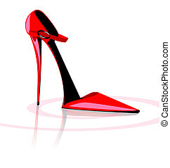 crimson shoe - on a white background there is red lady's...