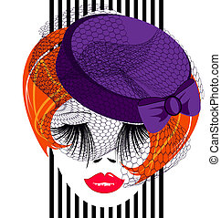 red lady - face of a red lady with a purple old-fashioned...