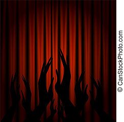 red velum and applouse - a red theater curtain and abstract...