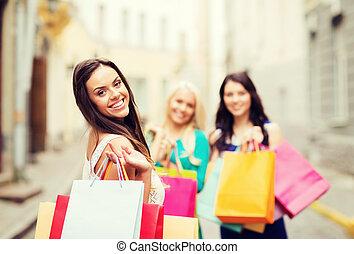 meninas, shopping, sacolas, cidade