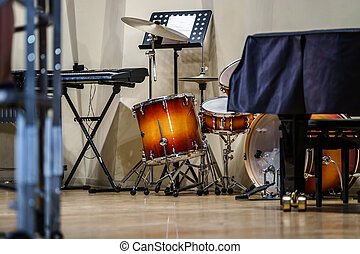 Drumkit and other jazz instruments waiting for musicians