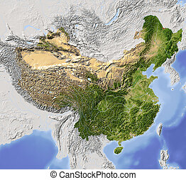China, shaded relief map. Colored according to vegetation,...