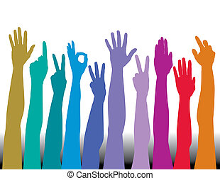 Hands of all races vector background