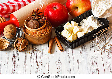 Apple pie - Ingredients for apple pie cooking Fresh red...