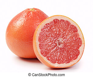 Bright grapefruit isolated on white background - The bright...
