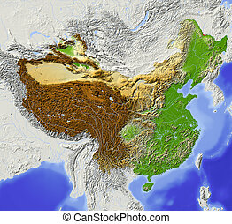 China, shaded relief map. Colored according to elevation,...