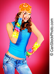 bright life - Cheerful teenager girl in bright casual...