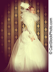 white duchess - Full length portrait of a beautiful fashion...