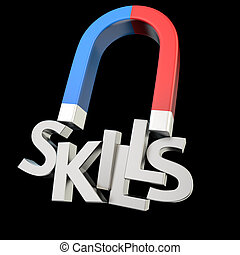 Skills magnet - Magnet magnetizes the word Skills on black
