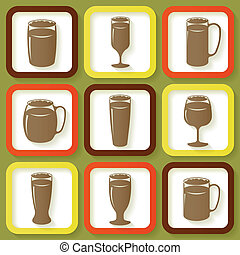 Set of 9 icons with beer glasses - Set of 9 retro icons of...