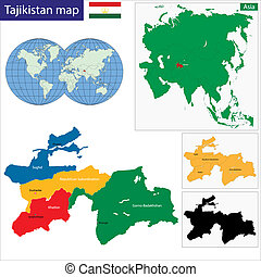 Tajikistan map - Map of administrative divisions of...
