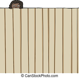Girl Looking Over Fence