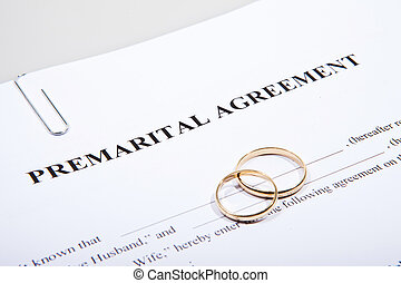 Prenuptial agreement form with two gold wedding rings