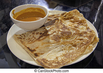 Roti Prata with Curry Gravy - Roti Prata with Bowl of Curry...