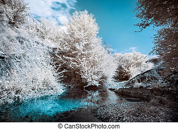 Mountain river bank with trees, Infrared IR landscape