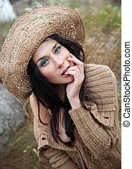 girl in a straw hat - Portrait of a girl in a straw hat...
