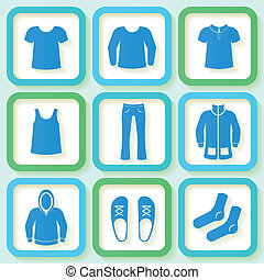 Set of 9 colorful icons of clothing - Set of 9 bright icons...