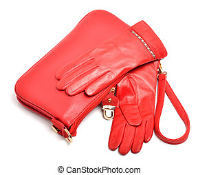 Stylish woman red bag and gloves