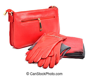 Stylish woman red  bag, gloves and a scarf