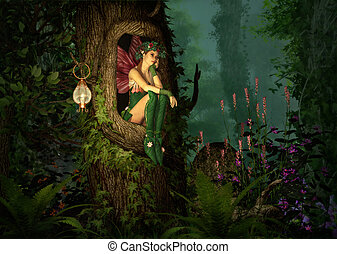 Secret Place - 3D computer graphics of a fairy with a wreath...