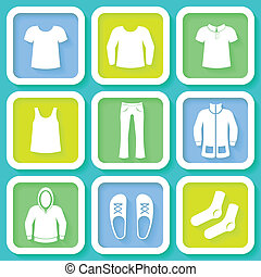 Set of 9 colorful icons of clothing - Set of 9 colorful...