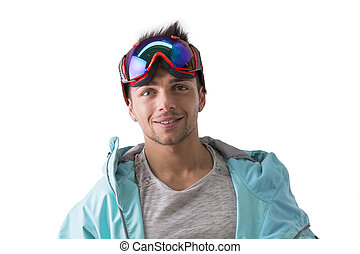 Friendly attractive young male skier or snowboarder