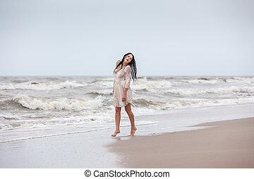 seminude, mulher, gelado, mar, ondas