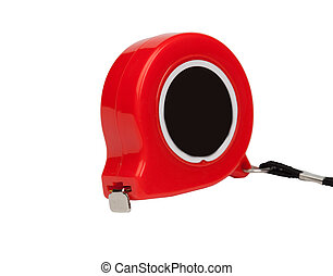 Red tape measure isolated on a white background