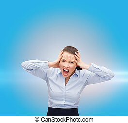 angry screaming businesswoman - business, office and stress...