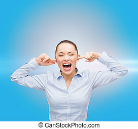 angry screaming businesswoman