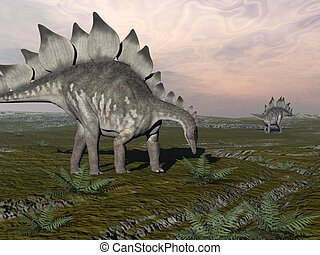 Hungry stegosaurus - 3D render - One stegosaurus walking to...