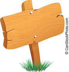 Wooden Sign Board - Vector illustration of wooden sign board...