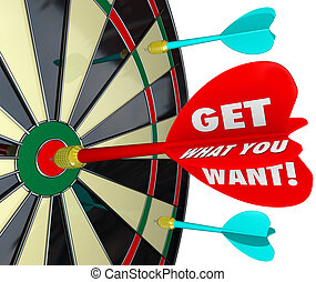 Get What You Want Words Dart Board Target Winner - Get What...