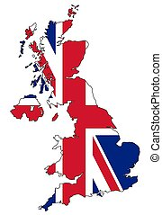 Map of UK with flag - Map of UK with official flag colors