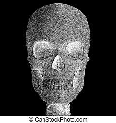 skull illustration - Spooky skull abstract sketch digital...