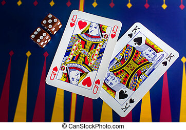 Queen and King face cards