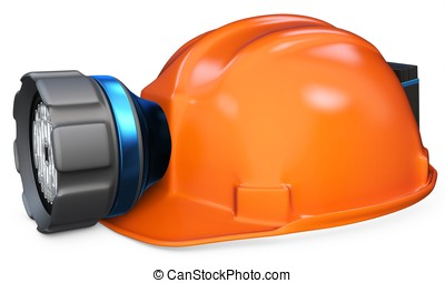 3d miner helmet with lamp and battery on white background