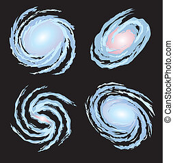 Four Spiral Galqxies - Four vector spiral galaxies in...