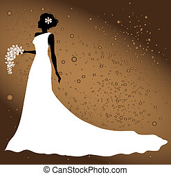bride silhouette illustration on abstract background