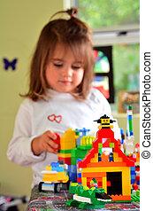niño, juego, Lego, construcción, juguete